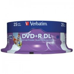 VERBATIM DVD+R DL 8.5GB 25Pk WHT Wide IJ 8x
