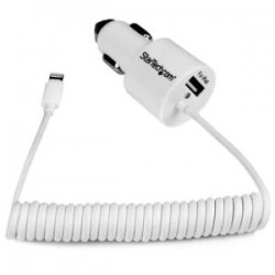 STARTECH Dual port Car Charger - Lightning & USB