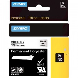 DYMO IND TAPE PERM POLY 9MM CLEAR